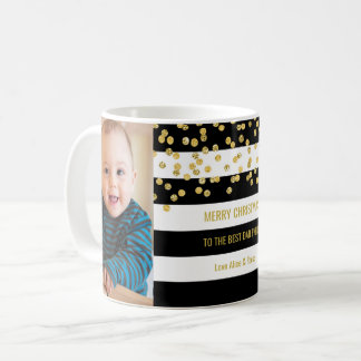 Mug Le noir barre Noël de papa de photo d'or meilleur