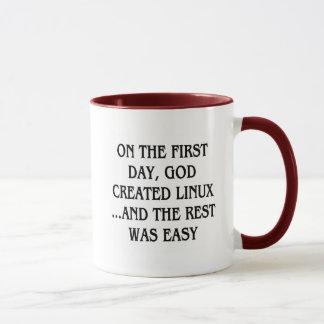 Mug Le premier jour, Dieu a créé Linux… et le repos