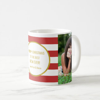 Mug Le rouge barre Noël de maman de photo d'or