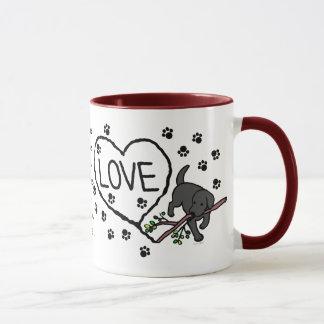 Mug Le sable noir de Labrador marque avec des lettres