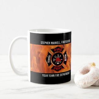 Mug Le sapeur-pompier flambe le nom et le département