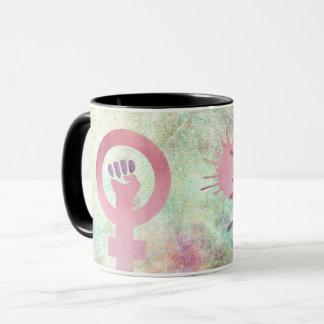 Mug Le symbole féministe rose sur la texture grunge
