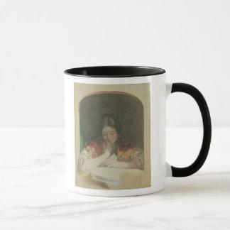 Mug Lecture de fille à une fenêtre, 19ème siècle