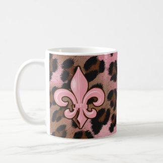 Mug Leopard Fleur de Lis rose