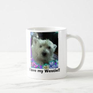 Mug les fleurs bleues, j'aime mon Westie ! !