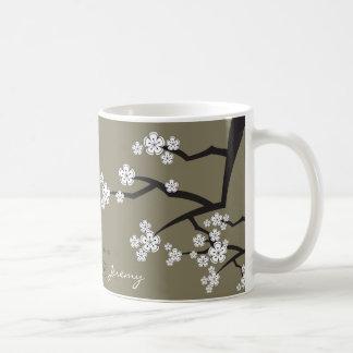 Mug Les fleurs de cerisier orientales Sakura blanc