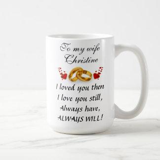 Mug Les fleurs, grand coeur et ajoutent le message