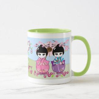 Mug Les poupées japonaises mignonnes, fleurs de