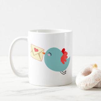 Mug Lettre bleue Customizeable de l'oiseau W de vol