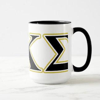 Mug Lettres de noir et d'or de sigma de Kappa de phi