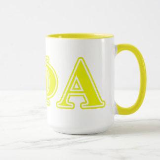 Mug Lettres jaunes de phi de thêta alpha