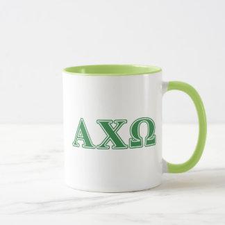 Mug Lettres vertes d'Omega de Chi d'Alphi