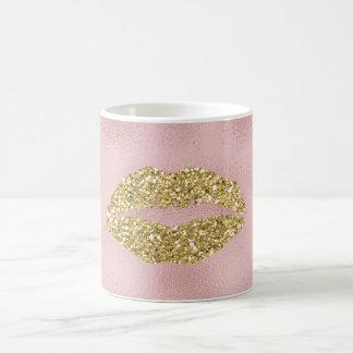 Mug Lèvres étincelantes de baiser d'or rose