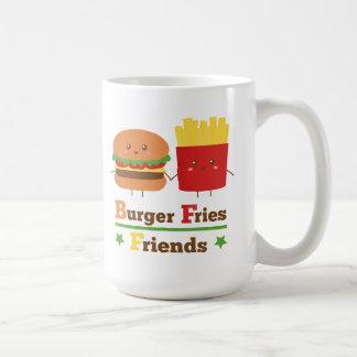 Mug L'hamburger de bande dessinée de Kawaii fait frire