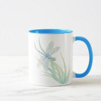 Mug Libellule originale d'aquarelle dans le bleu et le