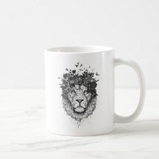 Mug Lion floral (noir et blanc)
