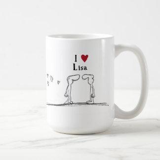 """Mug Lisa """"j'aime Lisa"""" """"je coeur Lisa """""""