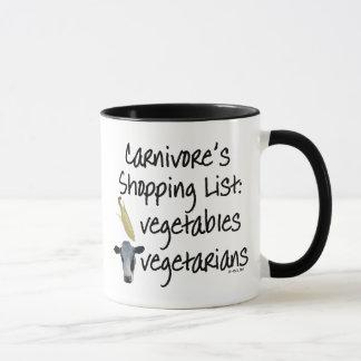 Mug Liste d'achats de carnivore