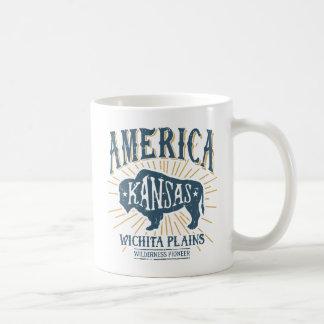 Mug Logo americana vintage de bison de Wichita le