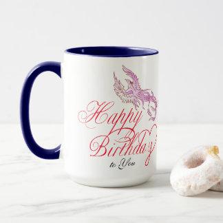 Mug L'oiseau de joyeux anniversaire et ajoutent la