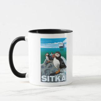 Mug Macareux et bateau de croisière - Sitka, Alaska