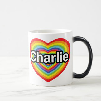 Mug Magic J'aime Charlie : coeur d'arc-en-ciel