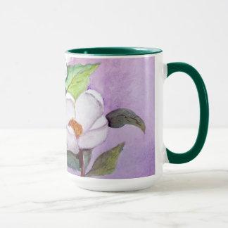 Mug Magnolias du sud blanches Painterly sur la lavande