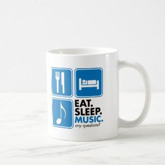Mug Mangez la musique de sommeil - bleu