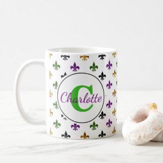 Mug Mardi gras à la mode Fleur De Lis de monogramme