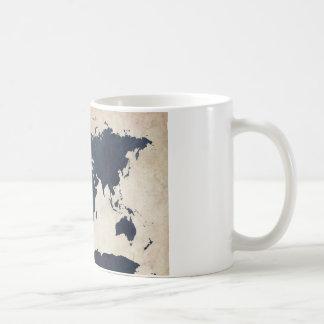 Mug Marine affligée de carte du monde