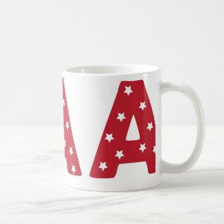 Mug Marquez avec des lettres A - Étoiles de blanc sur