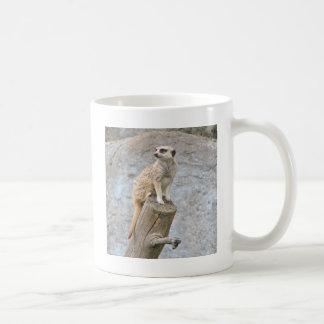 Mug Meerkat sur un rondin