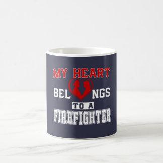 Mug Mon coeur appartient à un sapeur-pompier