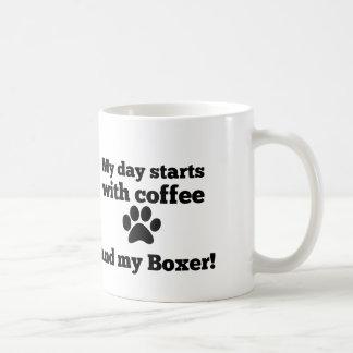 Mug Mon jour commence par du café et mon boxeur