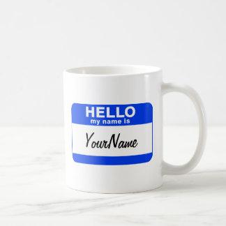 Mug Mon nom est Nametag fait sur commande bleu