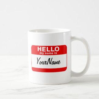 Mug Mon nom est rouge fait sur commande de Nametag de