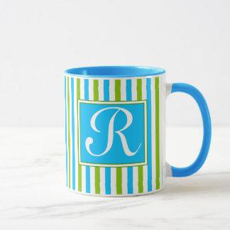 Mug Monogramme bleu et vert coloré de motif de rayure
