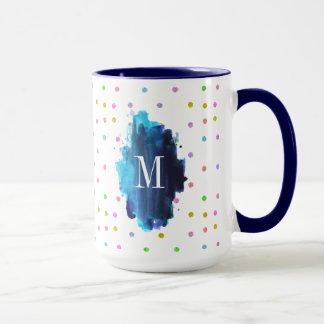 Mug Monogramme coloré de à petits pois