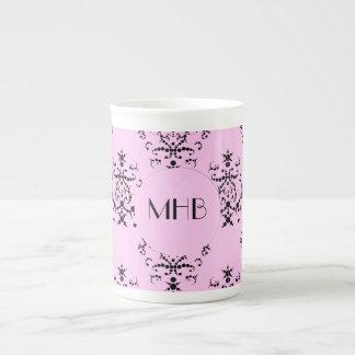 Mug Monogramme - damassé, ornements, tourbillonne -