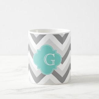 Mug Monogramme d'Aqua de Chevron de lt deux blanc gris