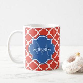 Mug Monogramme et nom bleus rouges à la mode de