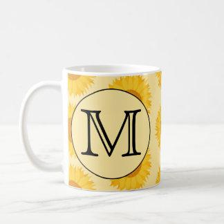 Mug Monogramme fait sur commande, avec les tournesols