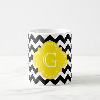 Mug Monogramme jaune en zig-zag blanc noir de Chevron