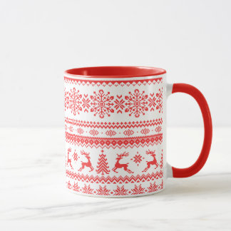 Mug Monogramme juste rouge de motif d'île de chandail