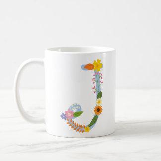 Mug Monogramme lunatique rustique de fleur (j)
