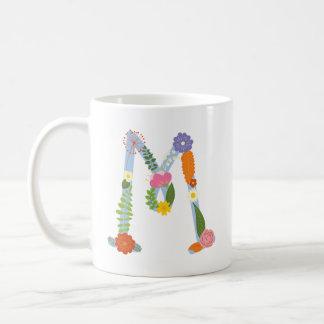 Mug Monogramme lunatique rustique de fleur (m)