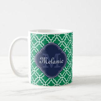 Mug Monogramme marocain blanc de marine de motif de
