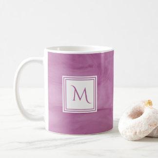Mug Monogramme moderne de marbre subtil mauve-clair