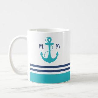 Mug Monogramme nautique bleu-clair