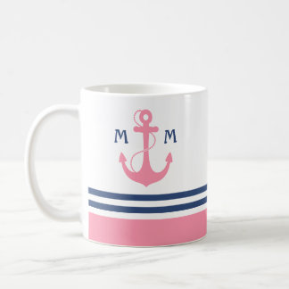 Mug Monogramme nautique rose